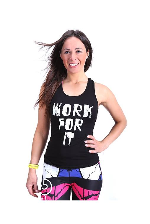 czarna bokserka sportowa, work for it, 2skin